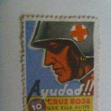 Sellos: GUERRA CIVIL : VIÑETA DE LA REPUBLICA . AYUDAD A LA CRUZ ROJA.. Lote 156450086