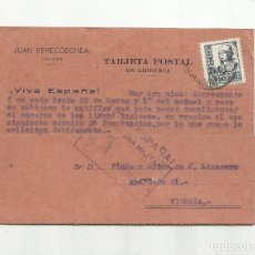 Sellos: CIRCULADA 1938 DE LIBRERIA IRUN A VITORIA CON CENSURA MILITAR . Lote 156495030