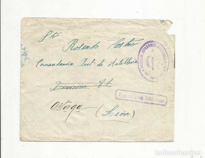 CIRCULADA BATALLON DE ZAPADORES MINADORES A COMANDANCIA ARTILLERIA ASTORGA LEON CON CENSURA MILITAR (Sellos - España - Guerra Civil - De 1.936 a 1.939 - Cartas)