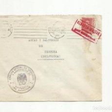 Sellos: CIRCULADA 1938 DE SAN SEBASTIAN A BALNEARIO CESTONA GUIPUZCOA CON CENSURA MILITAR . Lote 156496798