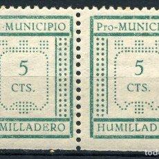 Sellos: ESPAÑA. GUERRA CIVIL. HUMILLADERO. EDIFIL Nº5 + 6 EN PAREJA. SIN RESEÑAR. Lote 156501510