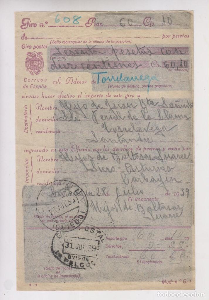 RARO. GIRO POSTAL DE SIERO A TORRELAVEGA, CANTABRIA. 1939 (Sellos - España - Guerra Civil - De 1.936 a 1.939 - Cartas)
