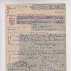 Sellos: RARO. GIRO POSTAL DE SIERO A TORRELAVEGA, CANTABRIA. 1939. Lote 156598606