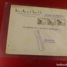 Sellos: SOBRE BERRA E HIJO DE J. YARZA S. L. CENSURA MILITAR ZARAUZ. GUIPUZCOA. . Lote 156608718