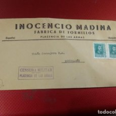 Sellos: SOBRE INOCENCIO MADINA FÁBRICA DE TORNILLOS PLACENCIA DE LAS ARMAS GUIPUZCOA. RARA CENSURA MILITAR . Lote 156609106