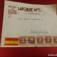 Sellos: FABRICA DE BROCAS LABORDE. FÁBRICA MILITARIZADA AL SERVICIO DE ESPAÑA. ANDOAIN. CENSURA S SEBASTIAN. Lote 156609402