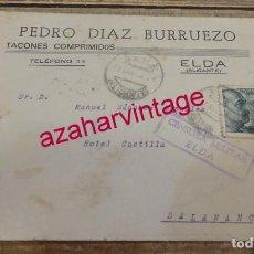 Sellos: SOBRE CIRCULADO DESDE ELDA A SALAMANCA, PEDRO DIAZ BURRUEZO, CENSURA MILITAR, RARO. Lote 156609846