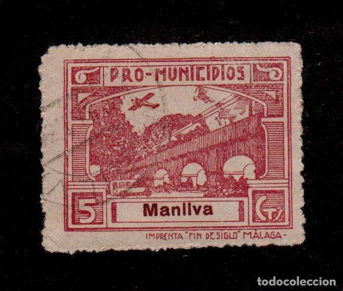 A3-13 VIÑETA GUERRA CIVIL MANILVA (MALAGA) FESOFI Nº 2 VALOR 5 CTS. CASTAÑO LILA (Sellos - España - Guerra Civil - Locales - Usados)