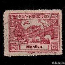 Sellos: A3-13 VIÑETA GUERRA CIVIL MANILVA (MALAGA) FESOFI Nº 2 VALOR 5 CTS. CASTAÑO LILA. Lote 156651226