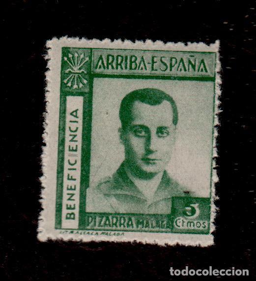 A3-13 VIÑETA GUERRA CIVIL PIZARRA (MALAGA) BENEFICENCIA FESOFI Nº 2 VALOR5 CTS VERDE (Briefmarken - Spanien - Spanischer Bürgerkrieg - Lokale Briefmarken - Gebraucht)