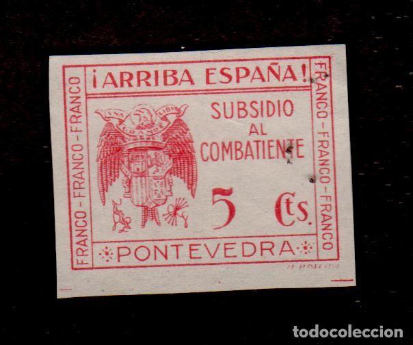 A3-13 VIÑETA GUERRA CIVIL SUBSIDIO AL COMBATIENTE PONTEVEDRA. FESOFI Nº 16 SIN DENTAR VALOR5 CTS (Sellos - España - Guerra Civil - Locales - Nuevos)