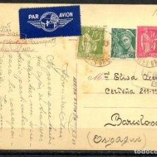 Sellos: GUERRA CIVIL POST, CORREO AÉREO, POSTAL CIRCULADA DE FRANCIA A ESPAÑA, 1939. Lote 156672374