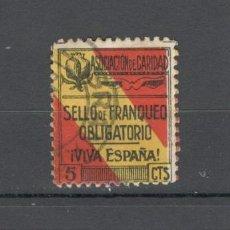 Sellos: VIÑETA GUERRA CIVIL: ASOCIACION DE LA CARIDAD, SELLO DE FRANQUEO: VIVA ESPAÑA - 5 CTS. Lote 156726150