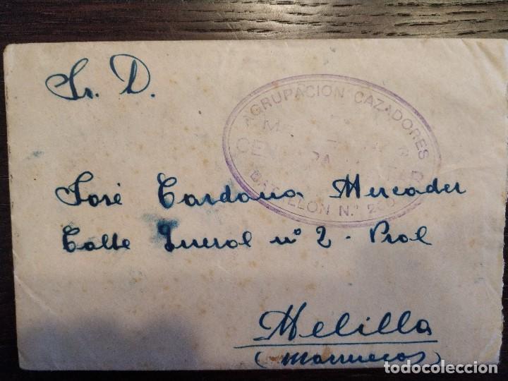 1938 GUERRA CIVIL CENSURA MILITAR AGRUPACION CAZADORES MELILLA DIVISION MARROQUI CARTA (Sellos - España - Guerra Civil - De 1.936 a 1.939 - Cartas)