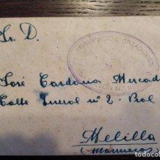 Sellos: 1938 GUERRA CIVIL CENSURA MILITAR AGRUPACION CAZADORES MELILLA DIVISION MARROQUI CARTA. Lote 156754014