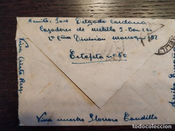Sellos: 1938 GUERRA CIVIL CENSURA MILITAR AGRUPACION CAZADORES MELILLA DIVISION MARROQUI CARTA - Foto 2 - 156754014