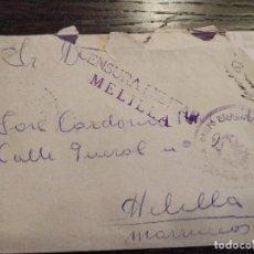 Sellos: 12/01/1939 GUERRA CIVIL GRUPO HOSPITALES MILITARES DE SIGÜENZA GUADALAJARA CENSURA MILITAR MELILLA. Lote 156754850