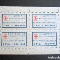 Sellos: BLOQUE DE 4 VIÑETAS FALANGE. DELEGACIÓN PROVINCIAL DE EX-CAUTIVOS DE VIZCAYA. 1 PESETA. AÑO 1942. . Lote 156830414