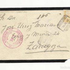 Sellos: CIRCULADA 1938 DE SAN SEBASTIAN A ZARAGOZA CON CENSURA MILITAR. Lote 156936634