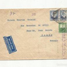 Sellos: CIRCULADA 1937 DE BARCELONA A PARIS FRANCIA CON CENSURA REPUBLICANA. Lote 156941494