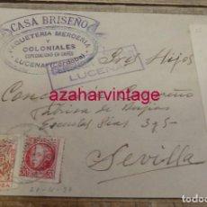 Sellos: 1937, CARTA MEMBRETE CASA BRICEÑO, COLONIALES, LUCENA, CENSURA MILITAR. Lote 157198234
