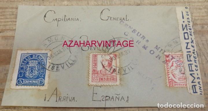 CARMONA, 1937, FRONTAL CIRCULADO , CENSURA MILITAR (Sellos - España - Guerra Civil - De 1.936 a 1.939 - Cartas)