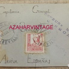 Sellos: CARMONA, 1937, FRONTAL CIRCULADO , CENSURA MILITAR. Lote 157198526