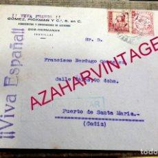 Sellos: DOS HERMANAS, SEVILLA, 1938, SOBRE CIRCULADO A EL PUERTO DE SANTA MARIA CON CENSURA MILITAR,RARO. Lote 157198926
