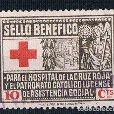 Sellos: GUERRA CIVIL. SELLO BENEFICO PARA EL HOSPITAL CRUZ ROJA Y EL PATRONATO CATOLICO LUGO º LOT007. Lote 157378198