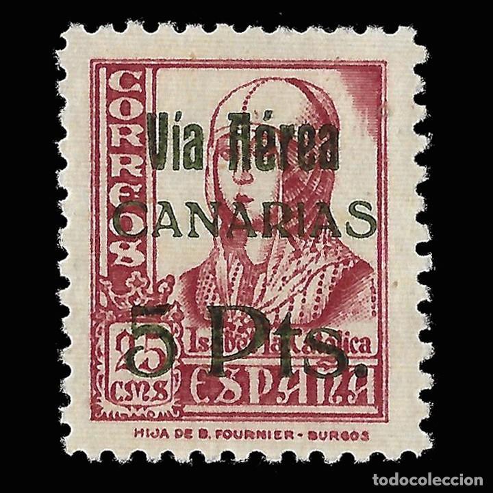 SELLOS. ESPAÑA.CANARIAS.1937.SELLOS REPUBLICANOS NACIONALES HABILITADO.5 P S 25C. NUEVO** EDIFIL 48 (Sellos - España - Guerra Civil - De 1.936 a 1.939 - Nuevos)