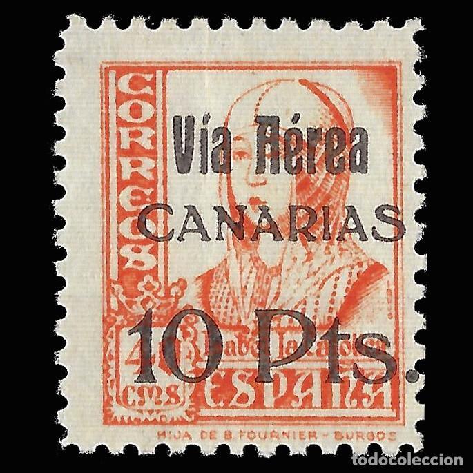 SELLOS. ESPAÑA. CANARIAS.1937.SELLOS REPUBLICANOS NACIONALES HABILITADO.10 P S 40C. NUEVO** EDIFI 49 (Sellos - España - Guerra Civil - De 1.936 a 1.939 - Nuevos)