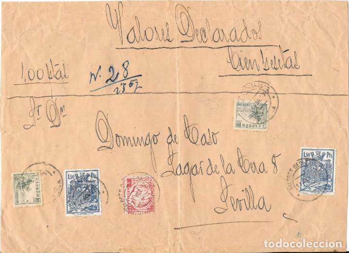 GUERRA CIVIL. VALORES DECLARADOS DE ECIJA A SEVILLA. MIXTO FISCALES Y SELLOS (Sellos - España - Guerra Civil - De 1.936 a 1.939 - Cartas)
