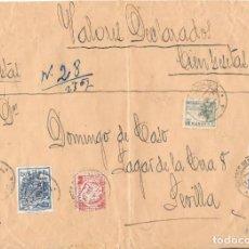 Sellos: GUERRA CIVIL. VALORES DECLARADOS DE ECIJA A SEVILLA. MIXTO FISCALES Y SELLOS. Lote 157725662