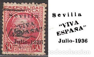SEVILLA EDIFIL Nº 25, SOBRECARGADO VIVA ESPAÑA JULIO 1936. JUNTO AL SELLO MUESTRO LA SOBRECARGA (Sellos - España - Guerra Civil - Locales - Usados)