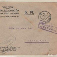 Sellos: ARMA DE AVIACIÓN FUERZAS AEREAS DEL NORTE. SERVICIO DE INFRAESTRUCTURA. CENSURA MILITAR VITORIA. . Lote 157818762
