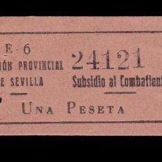 Sellos: *** SUBSIDIO AL COMBATIENTE. 1 PESETA, SEVILLA. NUMERACIÓN GRANDE. ALLEPUZ 139 ***. Lote 157851614