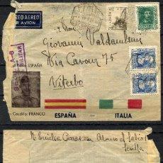 Sellos: GUERRA CIVIL, SOBRE PATRIÓTICO, FRANCO, ESPAÑA, ITALIA, 1939, SEVILLA. Lote 157861358