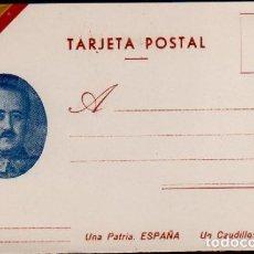 Sellos: C10-3 GUERRA CIVIL TARJETA POSTAL FRANCO LEYENDA UNA PATRIA ESPAÑA UN CAUDILLO FRANCO. Lote 157976434