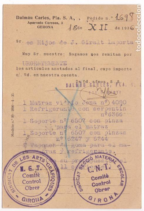 Sellos: CM2-4- Tarjeta Postal Dalmau Carles GERONA 1936. Marcas Comites Contro UGT/ CNT - Foto 2 - 158182918