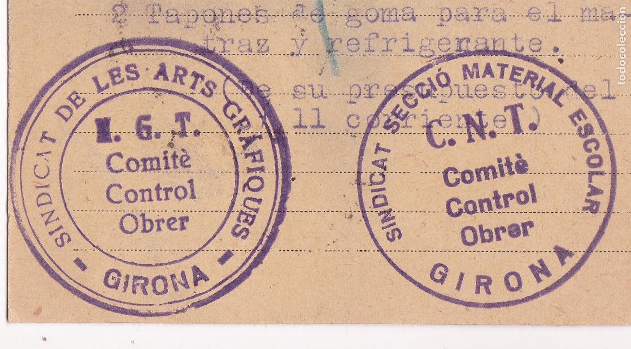 Sellos: CM2-4- Tarjeta Postal Dalmau Carles GERONA 1936. Marcas Comites Contro UGT/ CNT - Foto 3 - 158182918