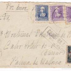 Francobolli: F4-65- CARTA BARCELONA- PALMA 1939. LOCAL , CENSURA Y VIÑETA FOTOGRAFIA DORSO. MONUMENTO COLON. Lote 158182966