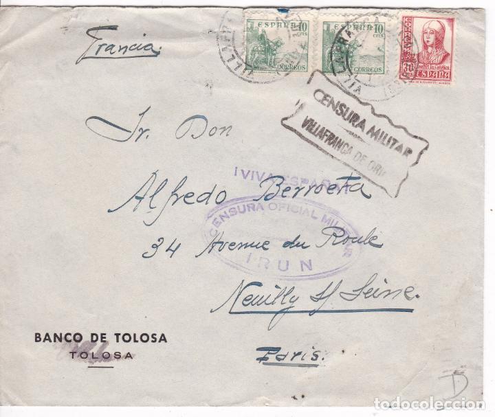 HP9-17- CARTA VILLAFRANCA DE ORIA- PARIS 1938. CENSURA VILLAFRANCA E IRÚN (Sellos - España - Guerra Civil - De 1.936 a 1.939 - Cartas)