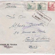 Sellos: CM2-5- CARTA VILLAFRANCA DE ORIA- PARIS 1938. CENSURA VILLAFRANCA E IRÚN. Lote 158183522