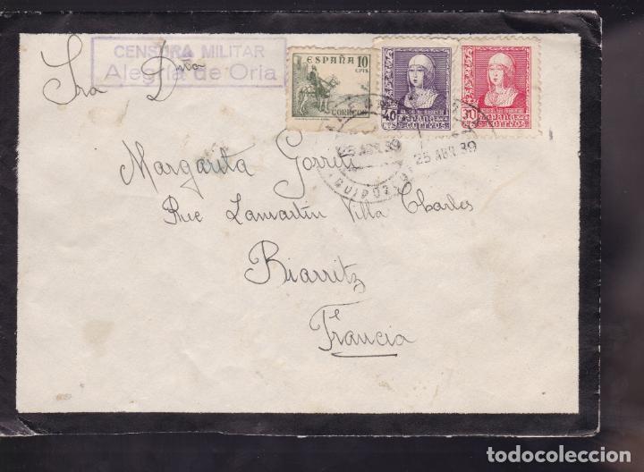 CM2-10- CARTA ALEGRIA DE ORIA- FRANCIA 1939. CENSURA ALEGRIA DE ORIA (Sellos - España - Guerra Civil - De 1.936 a 1.939 - Cartas)