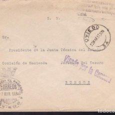 Sellos: CM2-17- CARTA OVIEDO-BURGOS 1937. FRANQUICIA DELEG HACIENDA OVIEDO. VISADO CENSURA . Lote 158188234