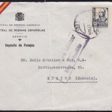 Sellos: CM2-21- CARTA SAN SEBASTIAN- SUIZA 1937. CENSURA. CENTRAL DE RESINAS SEGOVIA . Lote 158206610