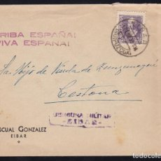 Sellos: CM2-26-CARTA EIBAR- CESTONA (GUIPUZCOA) 1939. CENSURA. Lote 158229954