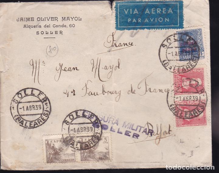 CM2-28- CARTA SOLLER (BALEARES)- FRANCIA 1939. CENSURA (Sellos - España - Guerra Civil - De 1.936 a 1.939 - Cartas)