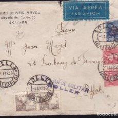 Sellos: CM2-28- CARTA SOLLER (BALEARES)- FRANCIA 1939. CENSURA. Lote 158232490