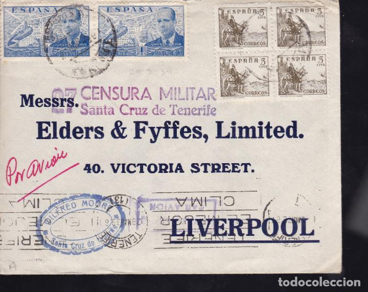 CM2-33- CARTA SANTA CRUZ TENERIFE -LIVERPOOL 1939. CENSURA (Sellos - España - Guerra Civil - De 1.936 a 1.939 - Cartas)